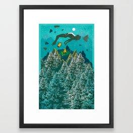 FLOATING FOREST BLUE Framed Art Print