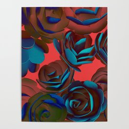 Exposed Red And Blue Roses Pattern Poster