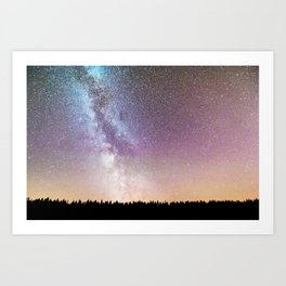 The Milky Way Above A Pine Woodland Art Print
