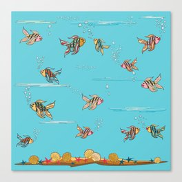 colorful fishes and seashells - blue Canvas Print
