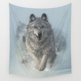 Wolf Pack Running - Snow Plow Wall Tapestry