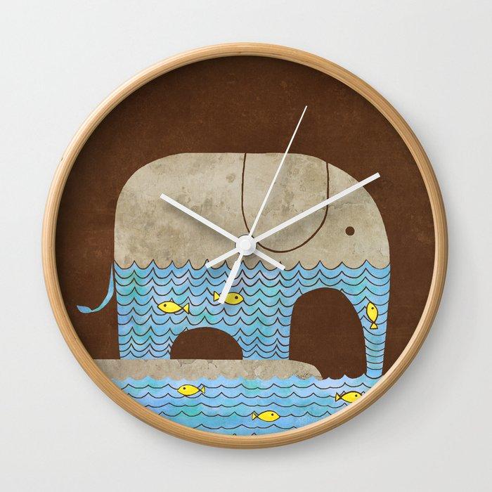 Thirsty Elephant - colour option Wall Clock