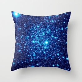 Vivid Blue gALaxY Stars Throw Pillow