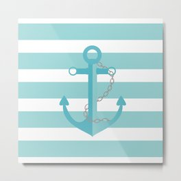 AFE Nautical Aqua Ship Anchor Metal Print