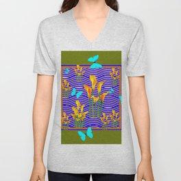 Moss Green Blue-Gold  Butterfly Floral Art Unisex V-Neck