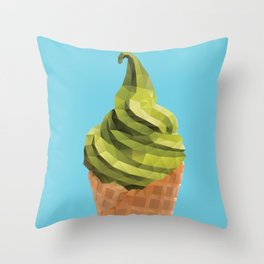 Matcha Soft Serve Icecream Polygon Art Throw Pillow