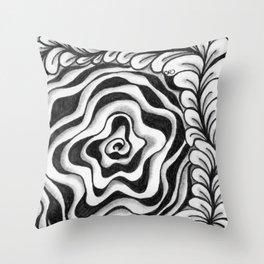 Doodled Rose & Vine Throw Pillow