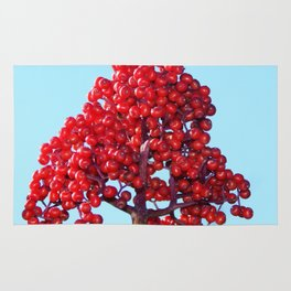 Rowan Berry Branch Top is Red on  Blue Nature Rug