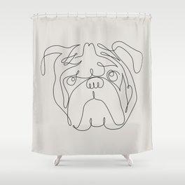 One Line English Bulldog Shower Curtain