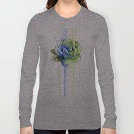 Flower Rose Watercolor Painting 12th Man Art Long Sleeve T-shirt