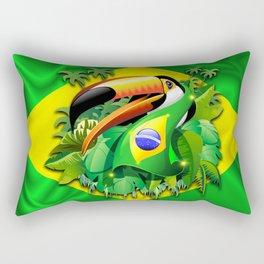 Toco Toucan with Brazil Flag Rectangular Pillow