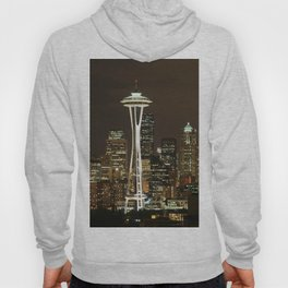 Seattle Space Needle at Night - City Lights Hoody