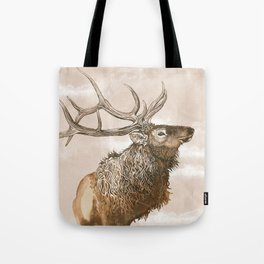 Misty Morning Elk Tote Bag