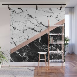 Modern black white marble color block rose gold Wall Mural