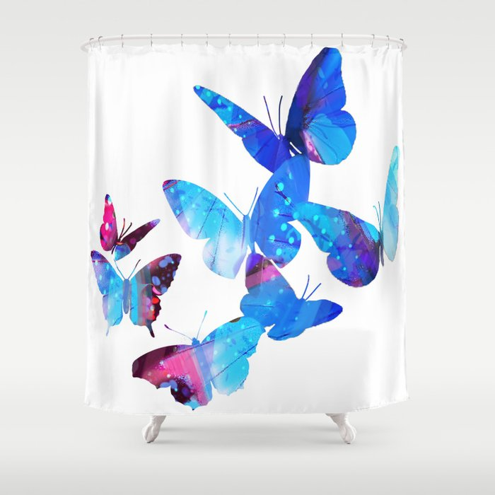 Blue Butterflies Shower Curtain By Aastankovic