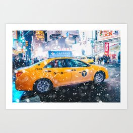 People in yellow cab shot famous led advertising panels in Times Square during snow Art Print