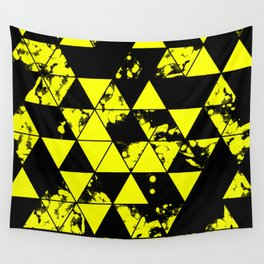 Splatter Triangles In Black And Yellow Wall Tapestry