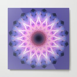 Electric Blue and Pink Mandala Metal Print