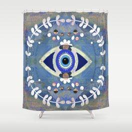 Evil Eye Protective Turkish Mandala Print Shower Curtain