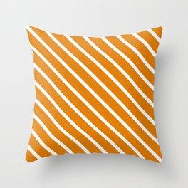 Caramel Diagonal Stripes Throw Pillow