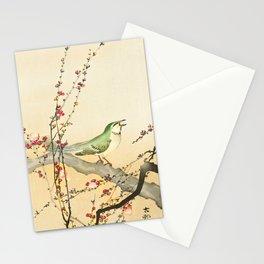Songbird on peach tree - Vintage Japanese Woodblock Print Art Stationery Cards