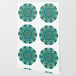 Copper and Teal Mandala Wallpaper