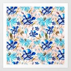 Blue flowery nature pattern I Art Print