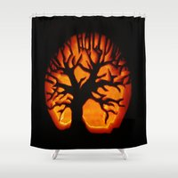 halloween Shower Curtains featuring HalloWeen by 2sweet4words Designs