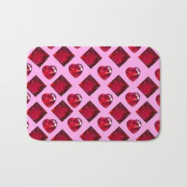 ENCRUSTED RUBY JEWELED  VALENTINE HEARTS  DESIGN Bath Mat