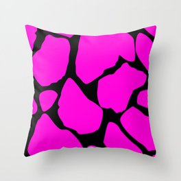 Hot pink cracked surface Throw Pillow