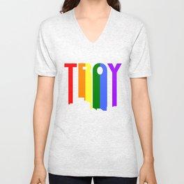 Troy Michigan Gay Pride Rainbow Skyline Unisex V-Neck
