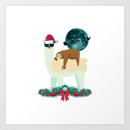 Llama Sloth Christmas Santa's Sleigh Silhouette In Front Of The Moon Art Print