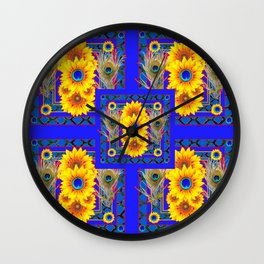 BLUE PEACOCK  SUNFLOWERS DECO JEWELED ABSTRACT Wall Clock