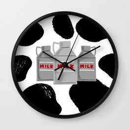 caw milk cute pattern Wall Clock