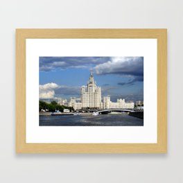 Moscow skyscraper, view from Moscow-river, sunny summer day Framed Art Print