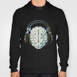 Mind Music Connection /3D render of human brain wearing headphones Hoody