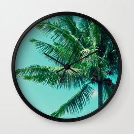Keanae Tropical Summer Palm Trees Maui Hawaii Wall Clock
