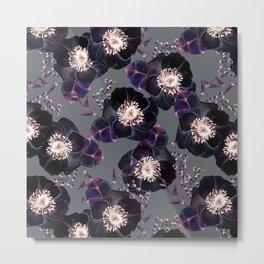 Night Rose Black + Gray Purple Metal Print