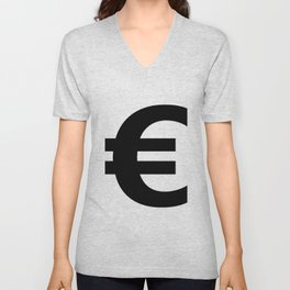 Euro Sign (Black & White) Unisex V-Neck