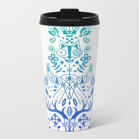 La Vie & La Mort – Blue Ombré Metal Travel Mug