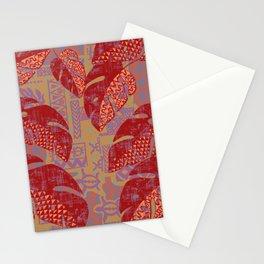 Hawaiian Lava Leaves Tapa Print Stationery Cards