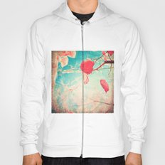 Alone Pink Leaf on blue textured sky, autumn fall, photogfraphy  Hoody