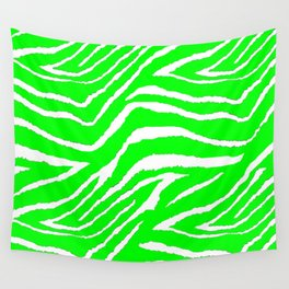Zebra Animal Print Green and White Pattern Wall Tapestry