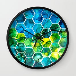 Hexagon alcohol ink Wall Clock