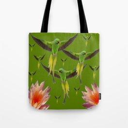 FLOCK OF GREEN FLYING FAIRY BIRDS  & PEACH FLOWERS ART Tote Bag