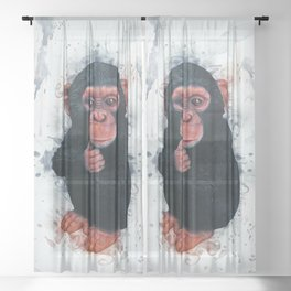 Chimpanzee Art Sheer Curtain