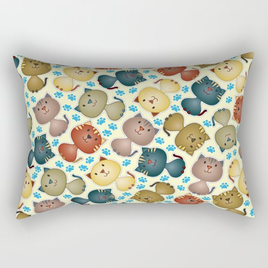 Cute Cats with Paws on the Background Rectangular Pillow