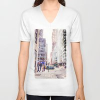 nyc V-neck T-shirts featuring NYC by Christine Workman