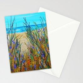 Beach flowers, impressionism ocean art, wildflowers on the beach Stationery Cards