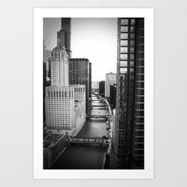 Chicago River Bridges Black and White Photo Art Print